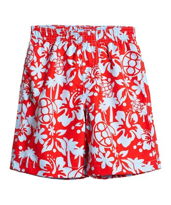 Red Hawaiian Swim Trunks - Toddler & Boys