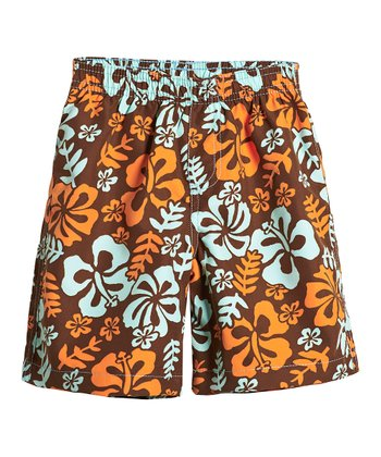 Chocolate Hawaii Swim Trunks - Toddler & Boys