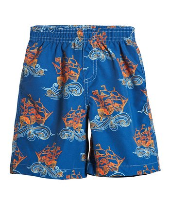 Blue Pirate Outline Swim Trunks - Toddler & Boys