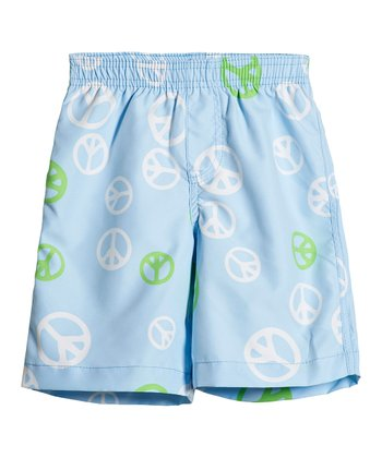 Light Blue Peace Sign Swim Trunks - Infant, Toddler & Boys