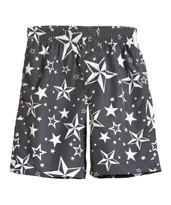 Gray Stars Swim Trunks - Toddler & Boys