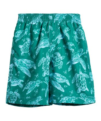 Green Turtles Swim Trunks - Toddler & Boys