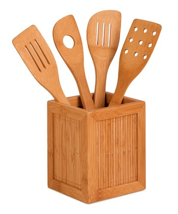 Bamboo Kitchen Caddy & Utensil Set