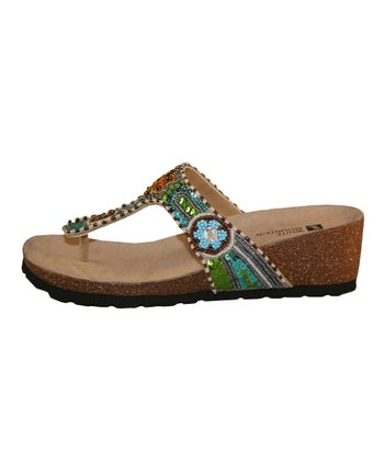Beige & Green Colorful Sandal