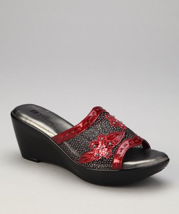 Red Mesh Rose Petal Slide