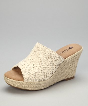 Natural Crocheted Oboe Espadrille Slide