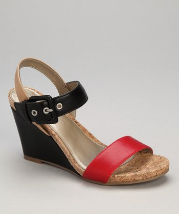 Red Patent Triumph Wedge