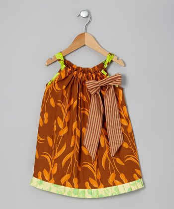 Brown & Orange Happy Pond Swing Dress - Toddler & Girls