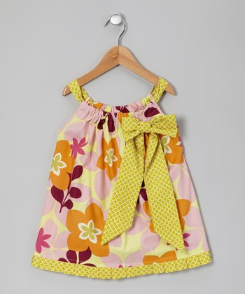 Orange & Yellow Happy Blooms Swing Dress - Toddler & Girls
