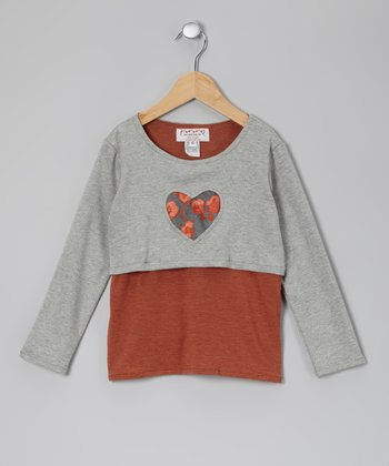 Gray & Brown Leland Layered Tee - Toddler & Girls