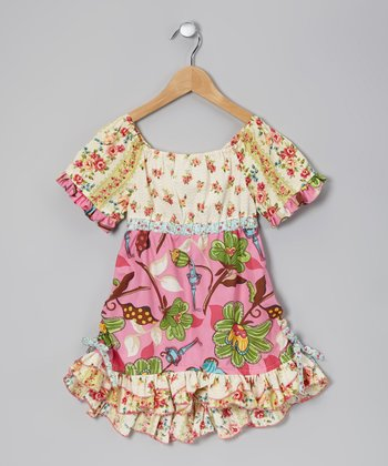 Ivory & Pink Cheryl Dress - Toddler