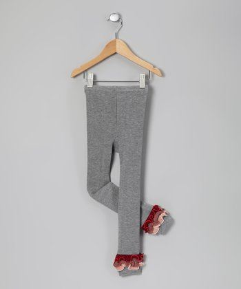 Gray & Burgundy Leggings - Toddler & Girls