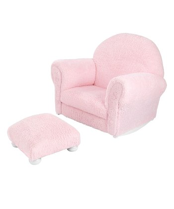 Pink Chenille Upholstered Rocker & Otto - Personalized