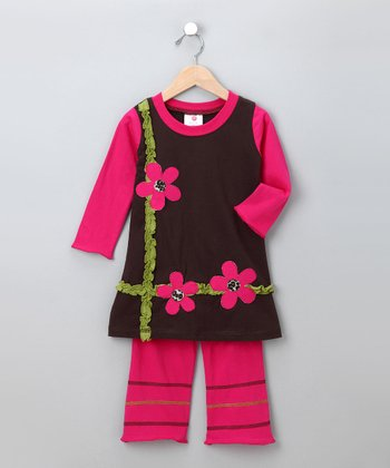 Fuchsia Floral Tunic & Pants - Toddler & Girls