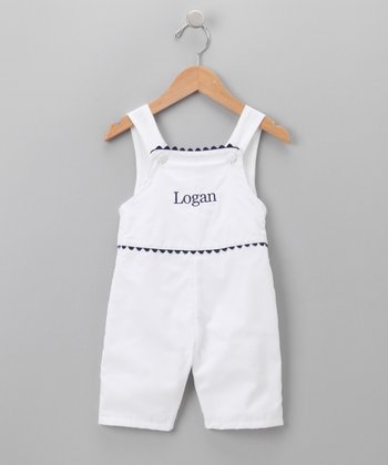 White & Navy Personalized Shortalls - Infant & Toddler