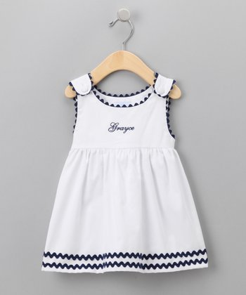 White & Navy Personalized Dress - Infant, Toddler & Girls