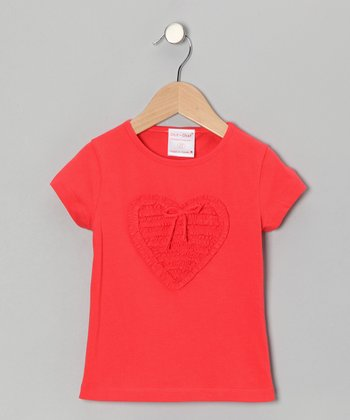 Orange Ruffle Heart Tee - Toddler & Girls
