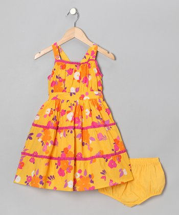 Orange Floral Tiered Dress - Infant & Toddler