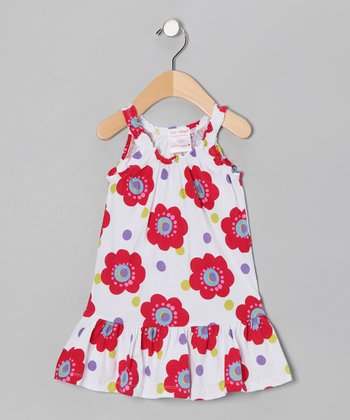 White & Red Flower Dress - Infant & Toddler