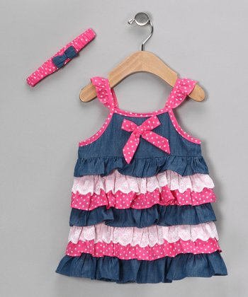 Pink & Denim Ruffle Dress & Headband - Girls