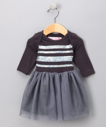 Charcoal Shimmer Long-Sleeve Tutu Dress - Girls