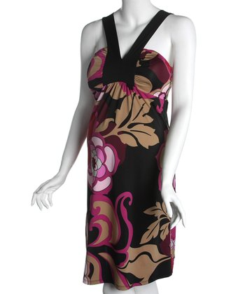 Black Floral V-Neck Maternity Dress