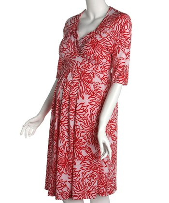 Red & White Print Maternity Dress