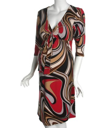 Black & Red Knot-Front Maternity Dress