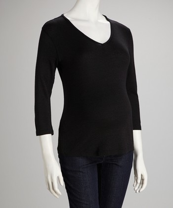 Black Shine Maternity Three-Quarter Sleeve Top