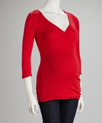 Red Shine Maternity Surplice Top