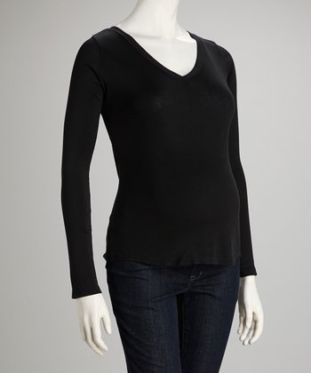 Black Maternity Long-Sleeve Tee