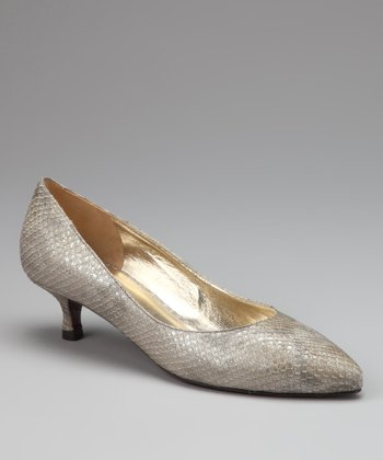 Light Taupe Snake Print Leather Adamo Pump
