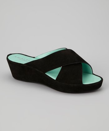 Black Cashmere Leather Bovia Slide