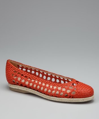 Orange Leather Calvana Flat