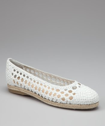 White Leather Calvana Flat