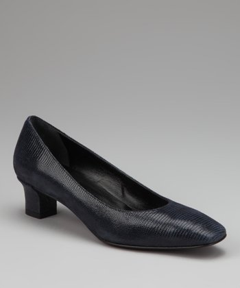 Navy Tejus Leather Celyn Pump
