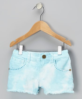 Aqua Crush Tie-Dye Denim Shorts - Toddler & Girls