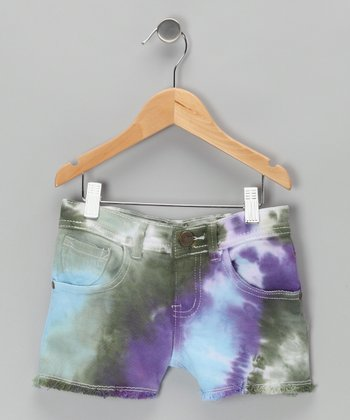 Atlantis Tie-Dye Denim Shorts - Girls