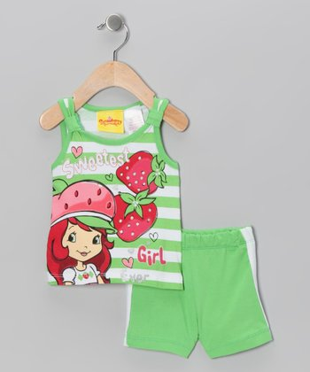 Green Strawberry Shortcake Tank & Shorts - Infant