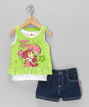 Green Strawberry Shortcake Layered Tank & Shorts - Infant, Toddler & Girls