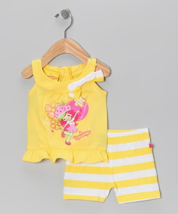 Yellow Strawberry Yoke Top & Stripe Shorts - Toddler