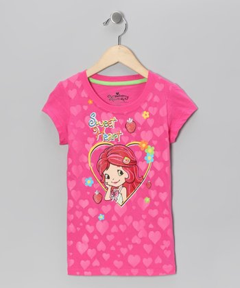 Pink Strawberry Shortcake Heart Tee - Girls