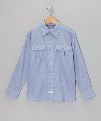 Slate Blue Johnny Button-Up - Boys
