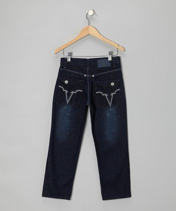 Dark Blue Denim Straight-Leg Jeans - Toddler & Boys