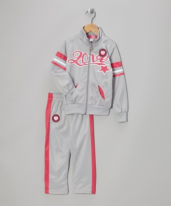 Gray 'Love' Track Jacket & Pants - Toddler & Girls