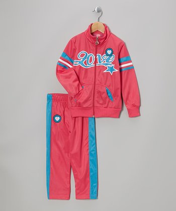 Pink 'Love' Track Jacket & Pants - Toddler & Girls