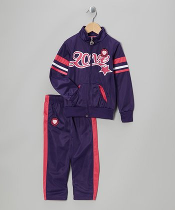 Purple 'Love' Track Jacket & Pants - Toddler & Girls