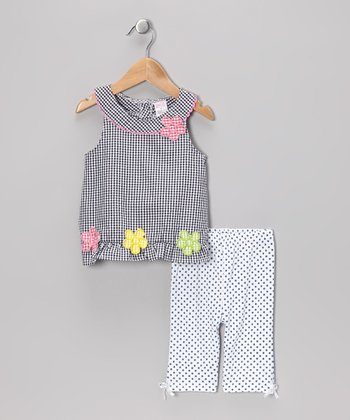 Black Gingham Tunic & Polka Dot Capri Pants - Infant & Toddler