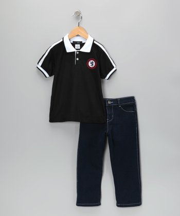 Navy Dragon Polo & Jeans - Infant, Toddler & Boys