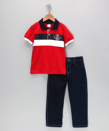 Red Wing Stripe Polo & Jeans - Infant, Toddler & Boys